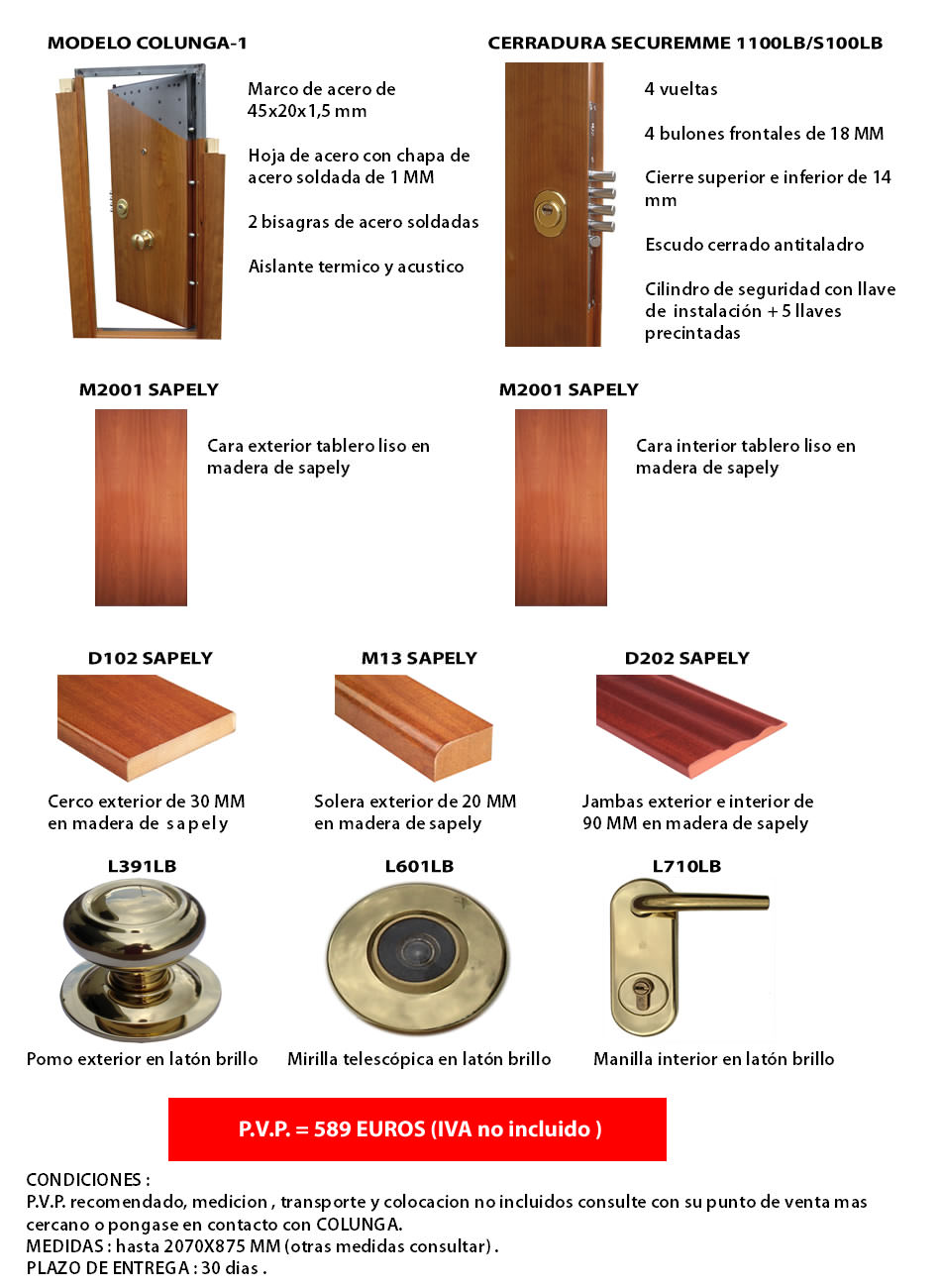 Precios de puertas acorazadas y puertas blindadas for Precio de puertas inyectadas