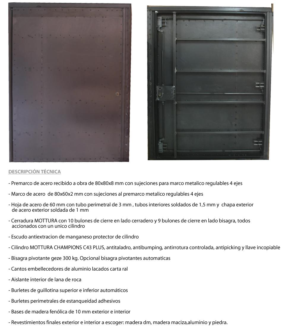 Puertas acorazada pivotantes for Precios de puertas acorazadas